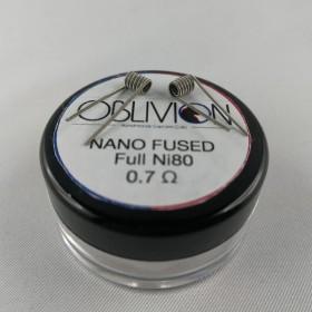 Oblivion Handmade Custom Coils Nano Fused Full Ni80 0,7 ohm