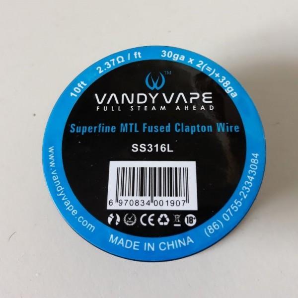 Vandy Vape Superfine MTL Fused Clapton Wire SS316 30gaX2 + 38ga