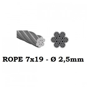 Stainless Steel Wire Rope 7x19 2,5mm