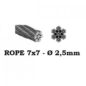 Stainless Steel Wire Rope 7x7 2,5mm